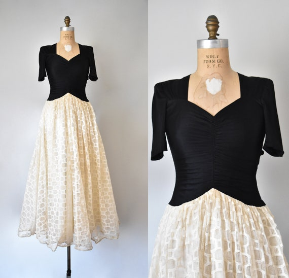 Picture Play rayon jersey 1930s dress, art deco 19