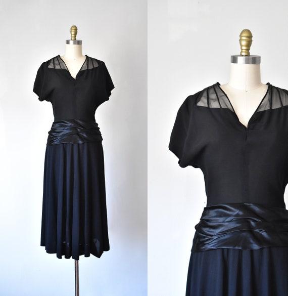Camille rayon 1950s dress, rockabilly little black