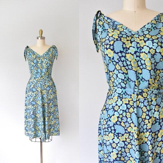 Iris floral 1950s dress, 50s dress, sundress women