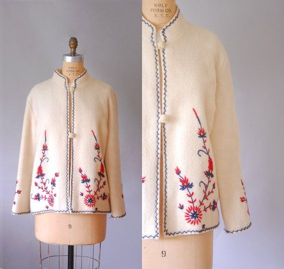 embroidered wool sweater coat, floral cardigan swe