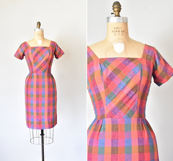 Dorothy plaid linen dress, 50s cocktail dress, pin