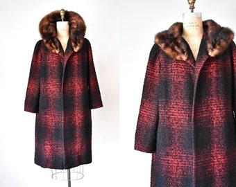 Diahann 60s plaid wool coat, red fur coat, fur collar, overcoat, plus size vintage