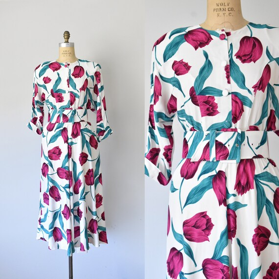 Keukenhof rayon floral dress, 1980s day dress, 80s
