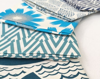 SALE Hand Printed Fabric - Shades of Blue