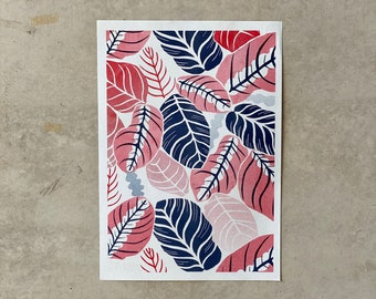 Nature leaf Riso Print A3, inspired by house plants, colourful wall art