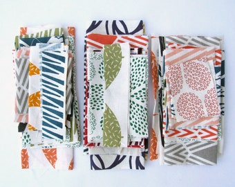 Fabric bundle hand printed remnants perfect for crafting