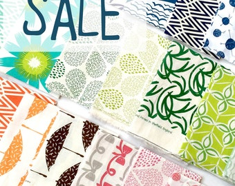 Hand Printed Fabric all Shades - Two mini pieces special offer SALE