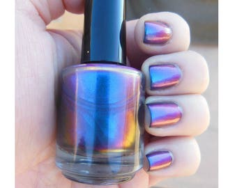 Chromaflair Color Shifting Morphing Multichrome Cyan Blue Pink Green Purple Shift Handmade Indie Nail Polish Top Coat Lacquer