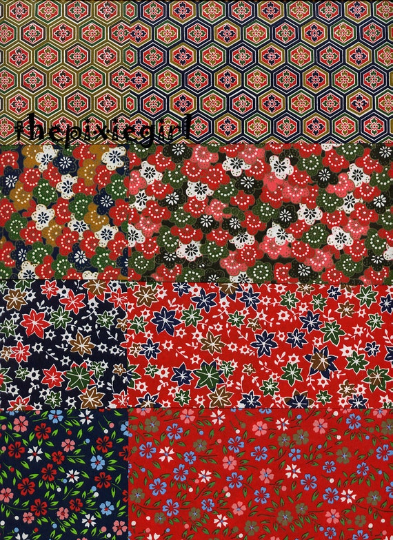 japanese origami paper washi chiyogami floral flower print 20