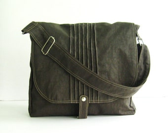 5a95f76575 Sale - Chocolate Brown Water Resistant Nylon Bag - Messenger