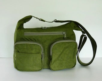 Sale - Dark Olive water resistant nylon - messenger bag women aa3e15e794f06