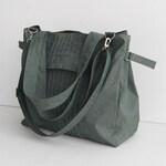 Grey Water-Resistant Bag, diaper bag, gym bag, cross body, roomy tote, shoulder bag, messenger bag, everyday bag, gift for women - Carrie