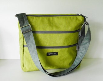 4d8c5d17162 Sale - Apple green water resistant nylon - messenger bag women, iPad bag  unisex, cross body bag, everyday bag, handbag, shoulder bag - JAMIE