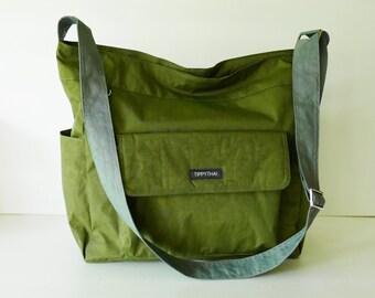 Sale - Dark Olive water resistant nylon - large messenger bag women c2a2efa05885c