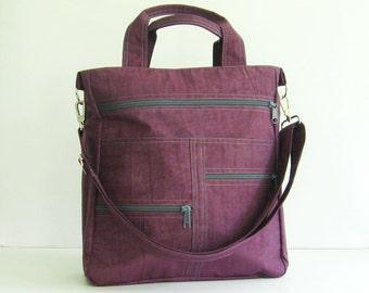 Deep Plum Water-Resistant Messenger Bag, school, laptop, crossbody bag, diaper bag, travel, tote, shoulder bag - Melissa