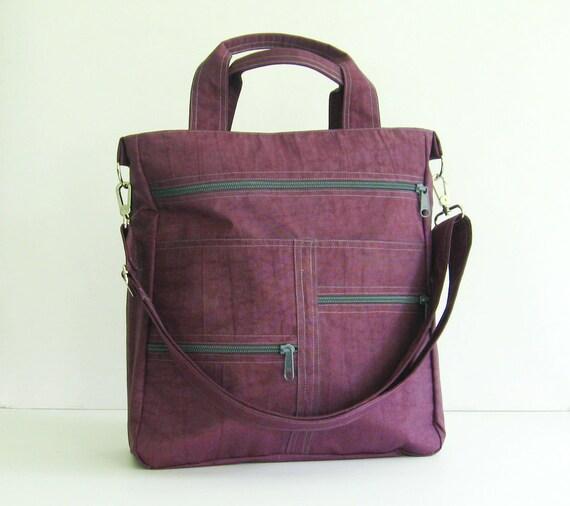 tote diaper bag crossbody bag school travel Sale Deep Plum Water-Resistant Messenger Bag shoulder bag Melissa laptop