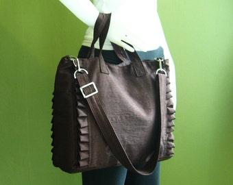 Sale - Chocolate  Brown Nylon Tote, water resistant, purse, ruffles, diaper bag, travel bag - Minnie