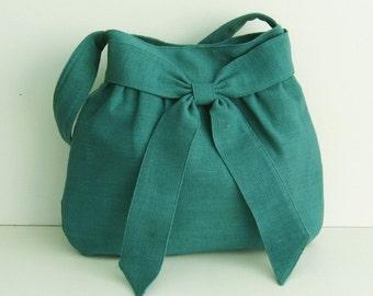 Sale - Teal Hemp/Cotton Bag, tote, purse, messenger, shoulder bag, handbag, work, everyday bag, bow, hemp - AMY