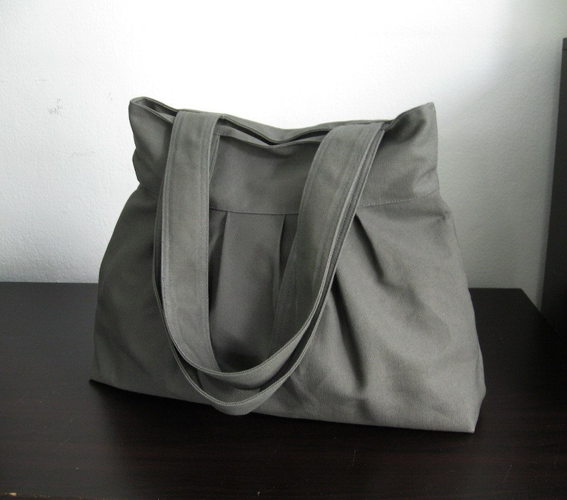 Sale Grey Canvas Pleats Bag Double Straps purse diaper  edfe36e5400da