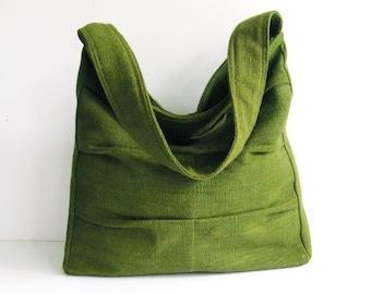 Forest Green Twisted Hemp Bag, shoulder bag, women tote, diaper bag, handbag, unique, stylish, messenger bag, everyday bag - LISA