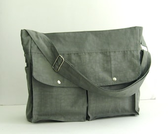 Grey Water-Resistant Nylon Diaper Bag - Shoulder bag, Crossbody bag, Messenger bag, Tote, Travel bag, Women, Gym bag - JENNIFER