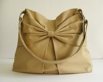Sale - Khaki Canvas Crossbody Bag, purse, tote, habdbag, messenger bag, hobo, bow, cute, stylish  - Martha