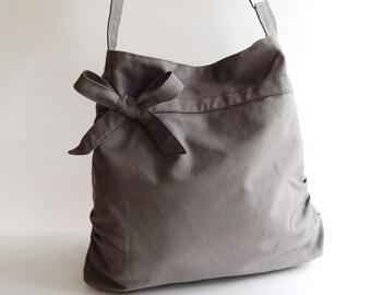 Sale - Grey Canvas Bag, tote, handbag, purse, bow, Crossbody bag, messenger bag, shoulder bag, unique - Dessert