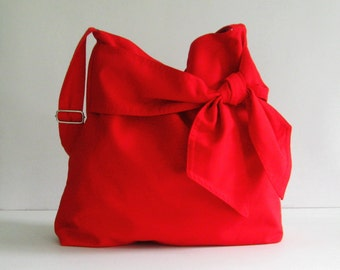 Red Cotton Twill Crossbody Bag, diaper cloth bag, messenger tote, bow, adjustable strap, shoulder bag, gift for women, travel hobo - Ninny