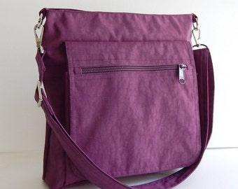Deep Plum Water Resistant Nylon Messenger Bag - handbag, Purse, Cross body bag, small Tote, Hip bag, Travel bag, gift for women - Judith