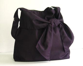 Deep Purple Cross body Canvas Bag, bag with pockets, women tote, handbag, shoulder bag, bow, messenger bag, travel bag, stylish - NINNY