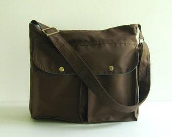 Sale - Chocolate Brown Water-Resistant Nylon Messenger Bag - Shoulder bag, Tote, Travel bag, Women, Unisex - LITTLE JENNIFER