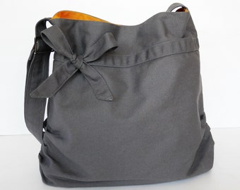 Grey Canvas Bag, light weight tote, women messenger bag, gift for women, bow, Crossbody bag, shoulder bag, unique gift - DESSERT