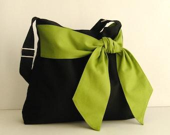 Black Cotton Twill Cross body Bag, tote, handbag, diaper bag, messenger bag for women, bow bag, stylish, shoulder bag with pockets - Ninny
