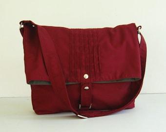Maroon Cotton Twill Messenger Bag, women tote, shoulder bag, canvas handbag, unique everyday bag, stylish cross body bag - Fiona