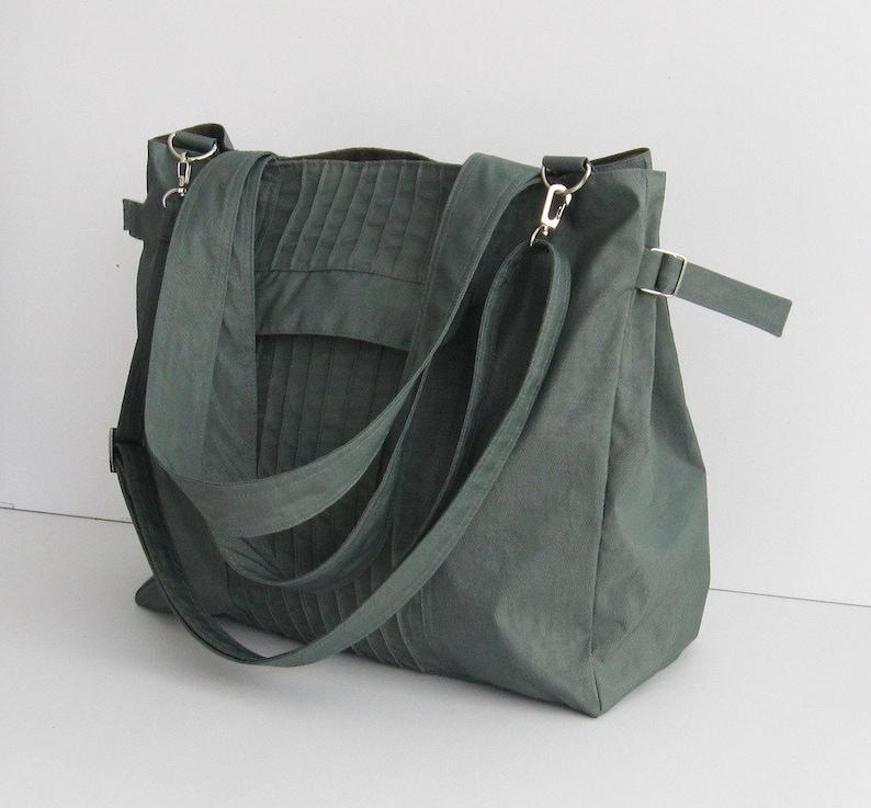 Grey Water-Resistant Bag diaper bag gym bag cross body image 0