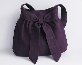 Deep Purple Hemp Purse - Shoulder Bag, women fabric tote, handbag, stylish, unique bag, everyday work bag, carry all bag, bow bag  - AMY