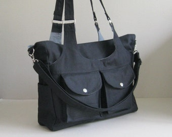 Sale - Black Canvas Bag - 3 Compartments - diaper, messenger, shoulder bag, gym bag, front pockets