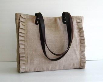 Natural Color Linen Tote, handbag, purse, shoulder bag, ruffles, messenger, pleats, durable - Sweety