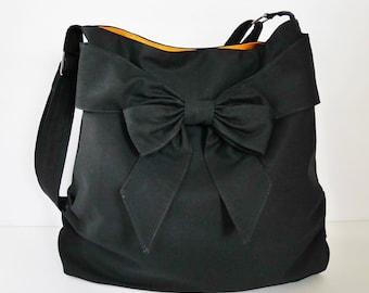 Black Canvas Messenger Bag, tote, handbag, diaper bag, purse with bow, shoulder bag, cross body bag, unique everyday bag for women - JESSICA