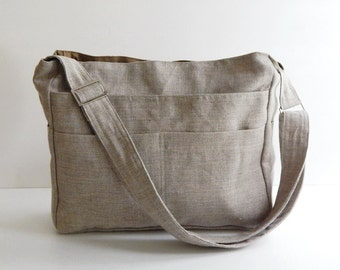 Sale - Natural Color Linen Tote, purse, shoulder bag, ruffles, crossbody, messenger, everyday bag - MELANIE
