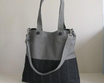 Sale - Black/Grey Canvas Bag, tote, purse, women, everyday bag, crossbody bag, messenger bag, adjustable Strap