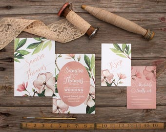 Pink Magnolia Wedding Invitations & Stationery - SAMPLE - Floral Wedding Stationery - Artwork by Alicia's Infinity