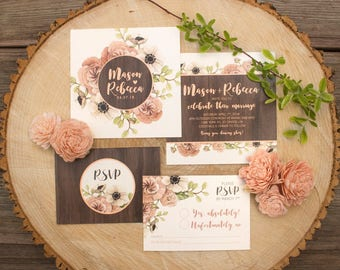 Rustic Barn Wood with Watercolour Peony & Poppy Floral Wedding Invitations - SAMPLE - Rustic Wedding Invitations - Art by Alicia's Infinity