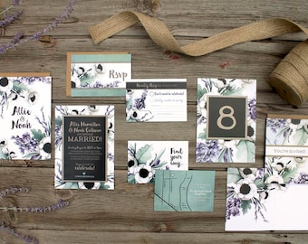 Lavender Watercolour Floral Wedding Stationery - SAMPLE - Mint & Lilac Poppy Botanical Wedding Invitations - Artwork by Alicia's Infinity