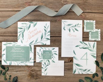 Gray Greenery Garland Watercolour Painted Wedding Invitations - SAMPLE - Art by Alicia's Infinity
