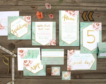 Gold Geometric and Botanical Floral Watercolour Wedding Invitations and Stationery - SAMPLE -  Artwork by Alicia's Infinity