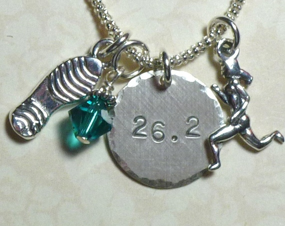 26.2 Marathon Runners Hand Stamped Sterling Silver Charm Necklace