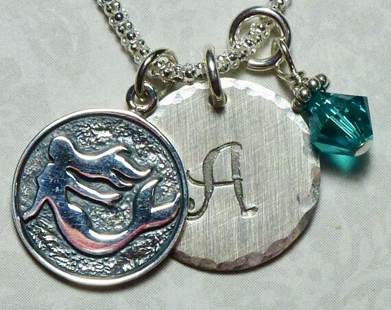 Personalized Mermaid Hand Stamped Sterling Silver Initial Charm Necklace