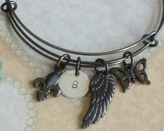 Adjustable Black Wire Bangle Charm Bracelet with Fleur De Lis, Angel Wing, Butterfly Charms