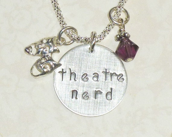 Theatre Nerd Comedy Tragedy Mask Hand Stamped Sterling Silver Necklace